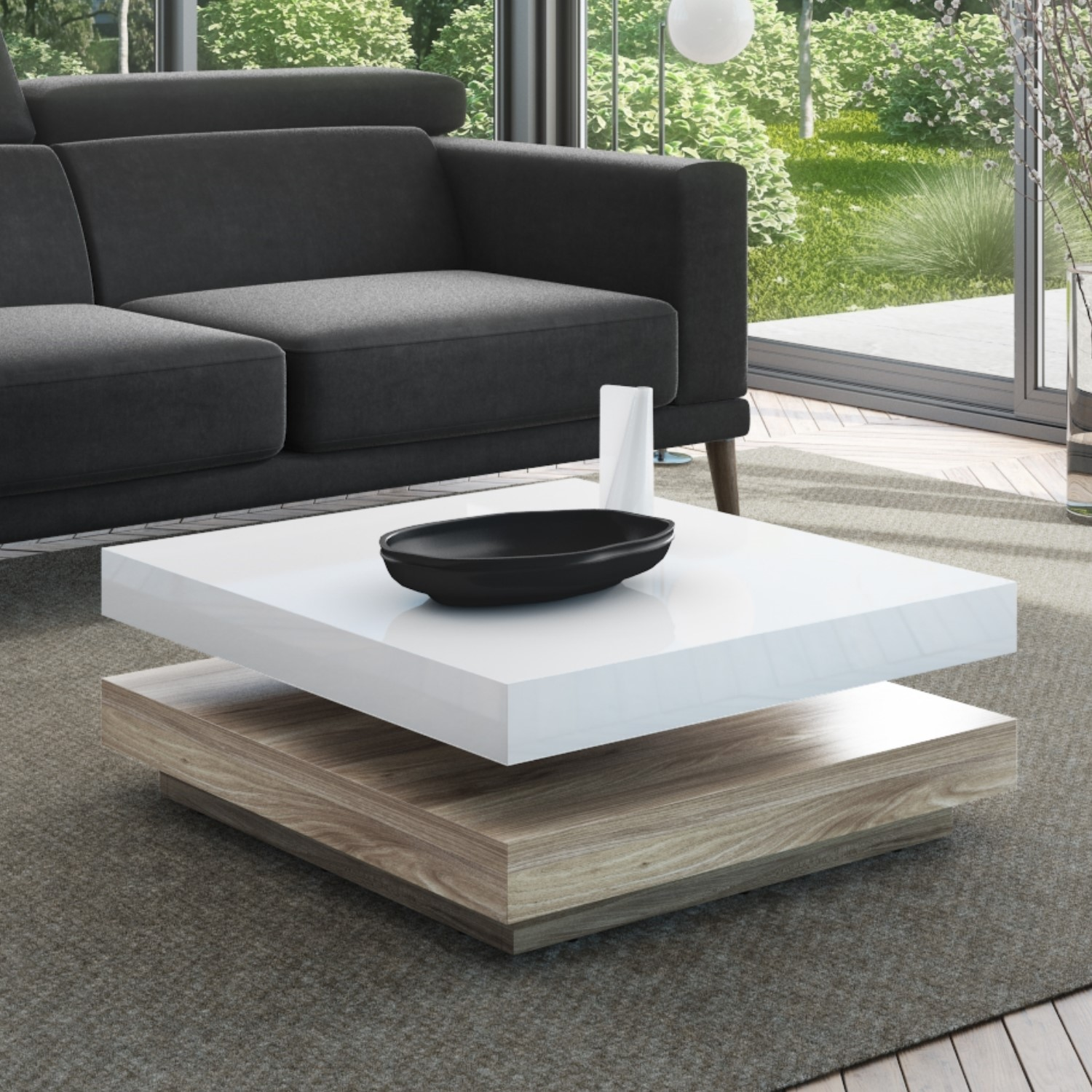 Square Coffee Table In White High Gloss Light Wood Effect