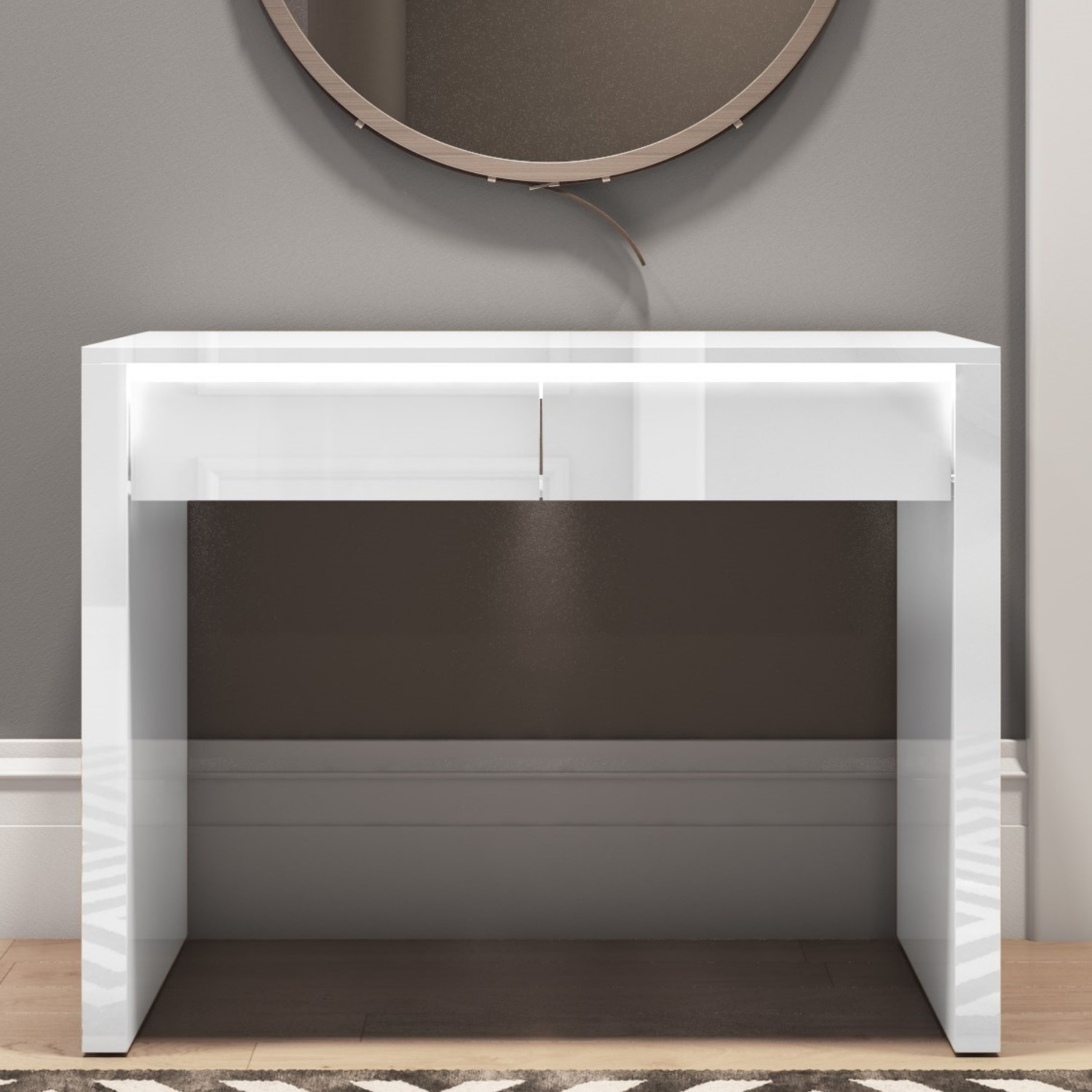 Fabulous Details About Tiffany White High Gloss Console Table With Led Feature 2 Drawers Tiff035 Gmtry Best Dining Table And Chair Ideas Images Gmtryco