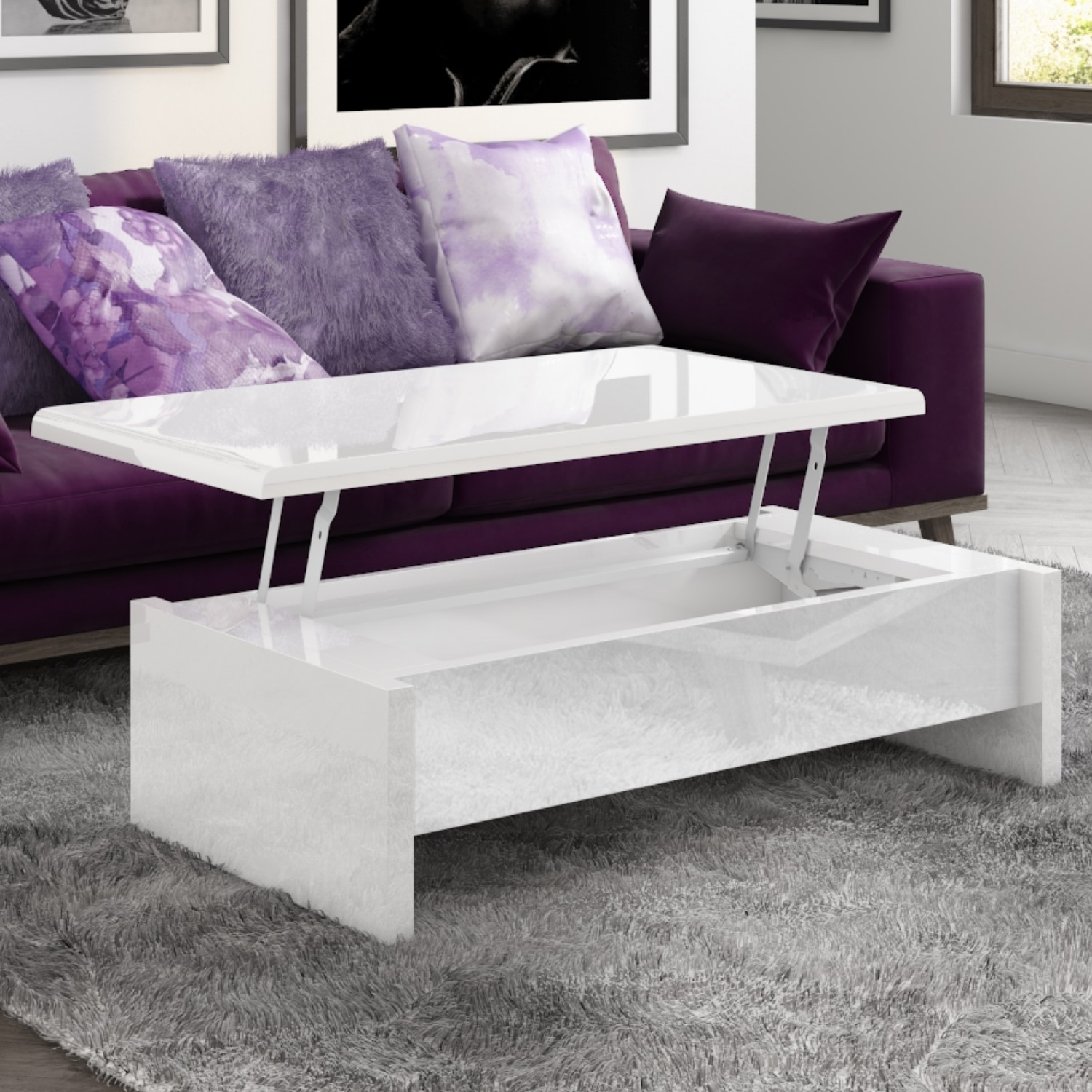 white gloss coffee table with storage