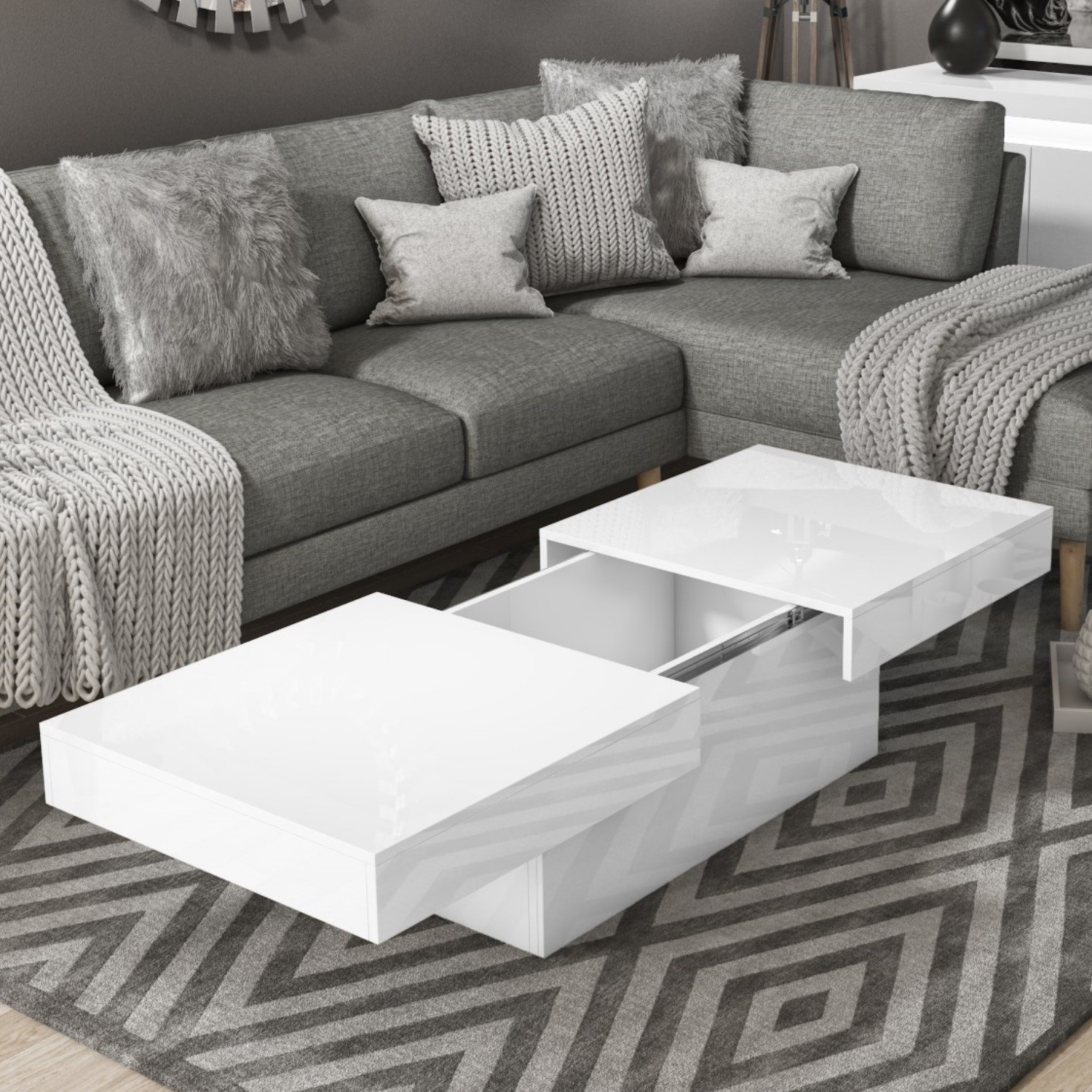 Details About Storage Coffee Table In White High Gloss Tiffany Tiff037