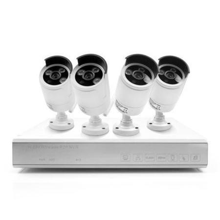electriQ 4 Channel HD 1080p Network Video Recorder with 4 x 720p Wi-Fi Bullet Cameras & 1TB Hard Drive