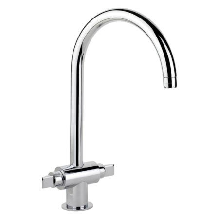 Rangemaster Chrome Twin Lever Monoglide Kitchen Tap