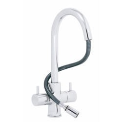 Astracast TP0421 Shannon Twin Lever Single Flow Tap with Pull-out Nozzle - Chrome