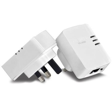 TRENDnet TPL-406E2K 1-Port 500Mbps Powerline AV Nano Adaptor Kit White V1.0R