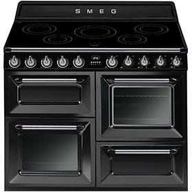 Smeg TR4110IBL Victoria Traditional 110cm Electric Range Cooker With Induction Hob Black