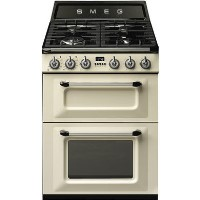 Smeg TR62P Victoria 60cm Double Oven Dual Fuel Cooker - Cream