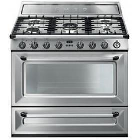 Smeg TR90X1 Victoria Single Cavity 90cm Wide Dual Fuel Range Cooker Stainless Steel