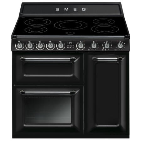 Smeg TR93IBL Victoria Triple Cavity 90cm Electric Range Cooker With Induction Hob Black