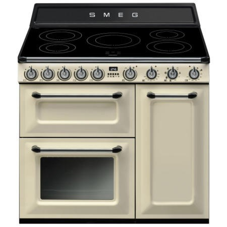 Smeg TR93IP Victoria Triple Cavity 90cm Electric Range Cooker With Induction Hob Cream