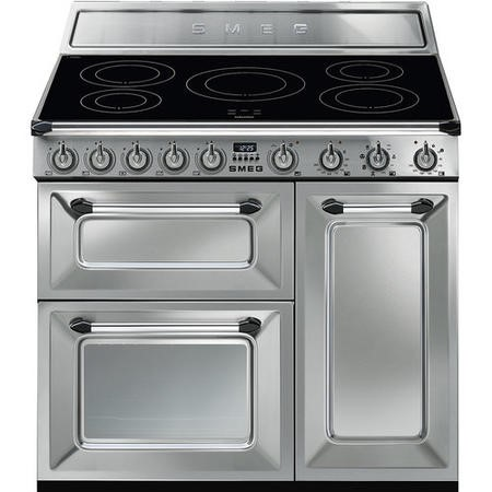 Smeg TR93IX Victoria Triple Cavity 90cm Electric Range Cooker With Induction Hob - Stainless Steel