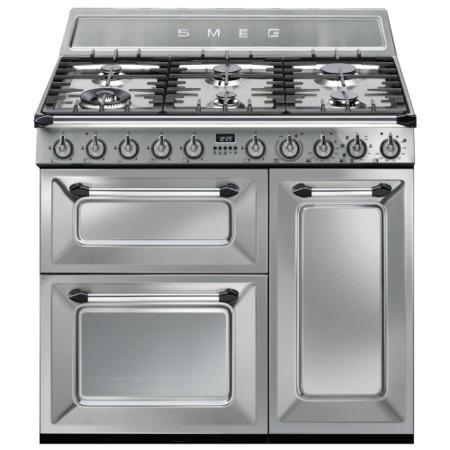 Smeg TR93X Victoria Triple Cavity 90cm Wide Dual Fuel Cooker Stainless Steel