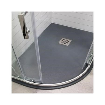 Claristone Anthracite Slate Effect Left Hand Quadrant Shower Tray & Waste - 1200 x 900mm