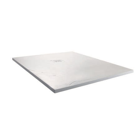 Claristone White Square Slate Effect Shower Tray & Waste - 900 x 900mm