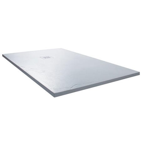 Claristone White Slate Effect Shower Tray & Waste - 1200 x 800mm