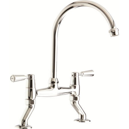 CDA TT56CH Traditional Style Swan Neck Bridge Tap In Chrome