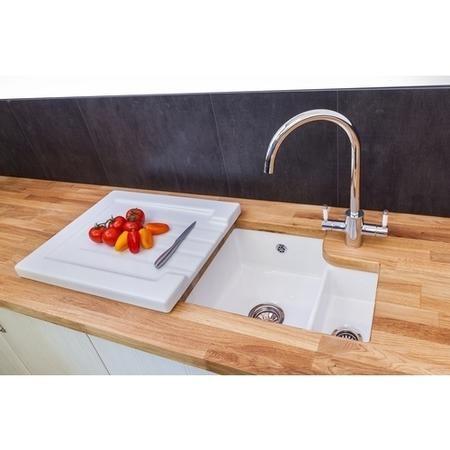 Reginox TUSCANY Large 1.5 Bowl Undermount Ceramic Sink White Glaze