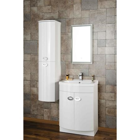 Curved White Wall Hung Tall Bathroom Storage Cabinet - W320 x H1418mm