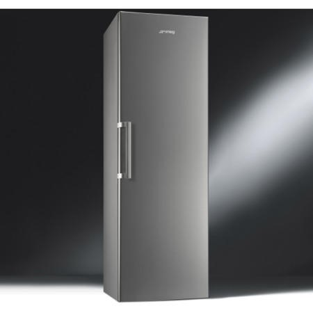 GRADE A3  - Smeg UK35PX3 185x60cm 349L Upright Freestanding Fridge - Grey With Stainless Steel Effec