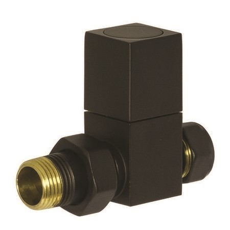 Square Straight Radiator Valves Black
