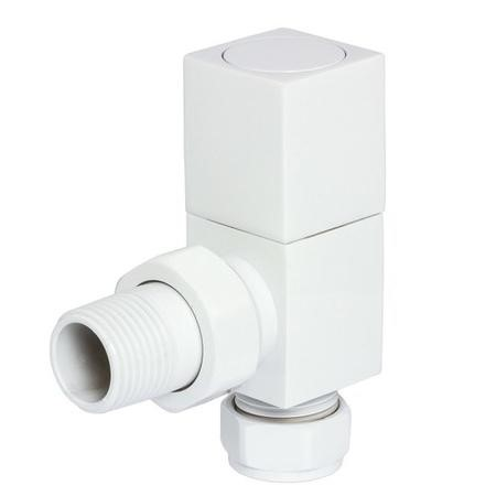 Square Angled Radiator Valves White