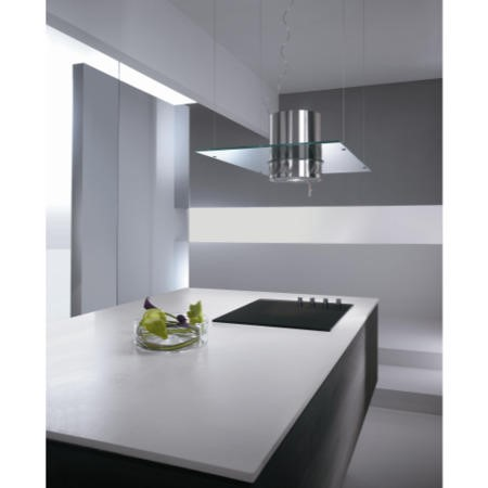 Elica VENEZIA 90cm Stainless Steel Ceiling Mounted Island Cooker Hood With Flat Glass Canopy