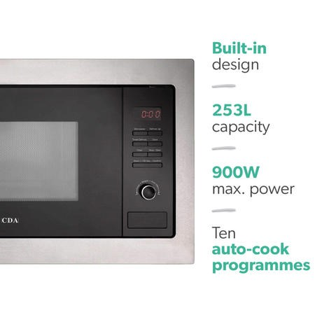 CDA VM230BL 25L 900W Built-in Microwave with Grill Black