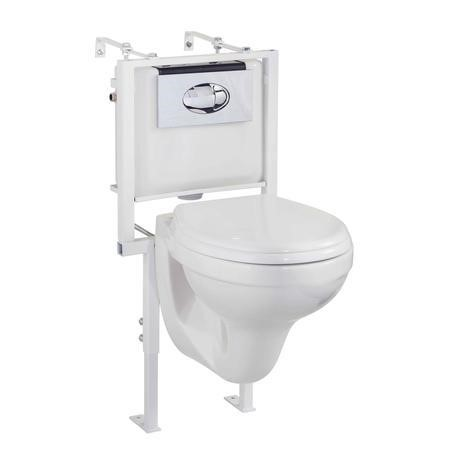 Round Wall Hung Toilet with Wall Hung Frame & Soft Close Seat