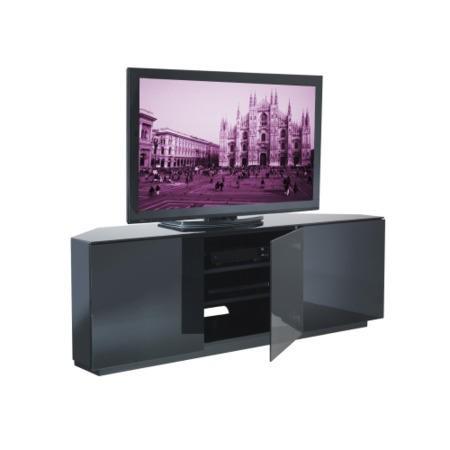 ukcf milan gloss black corner tv cabinet up to 55 inch fully assembled vts 0412fb. Black Bedroom Furniture Sets. Home Design Ideas