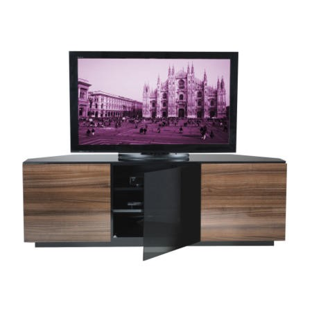 UKCF Milan Gloss Walnut Corner TV Cabinet - Up to 55 Inch