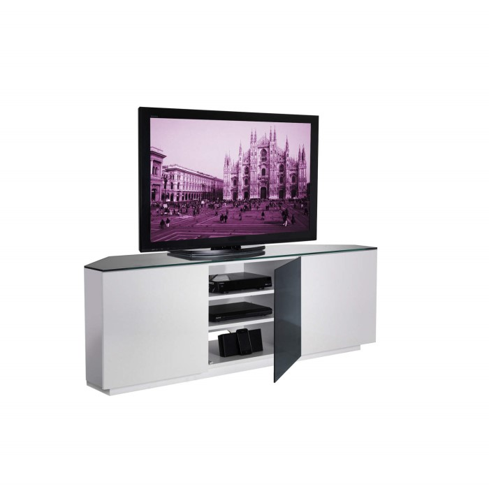 Ukcf Milan Gloss White And Black Corner Tv Cabinet Up To