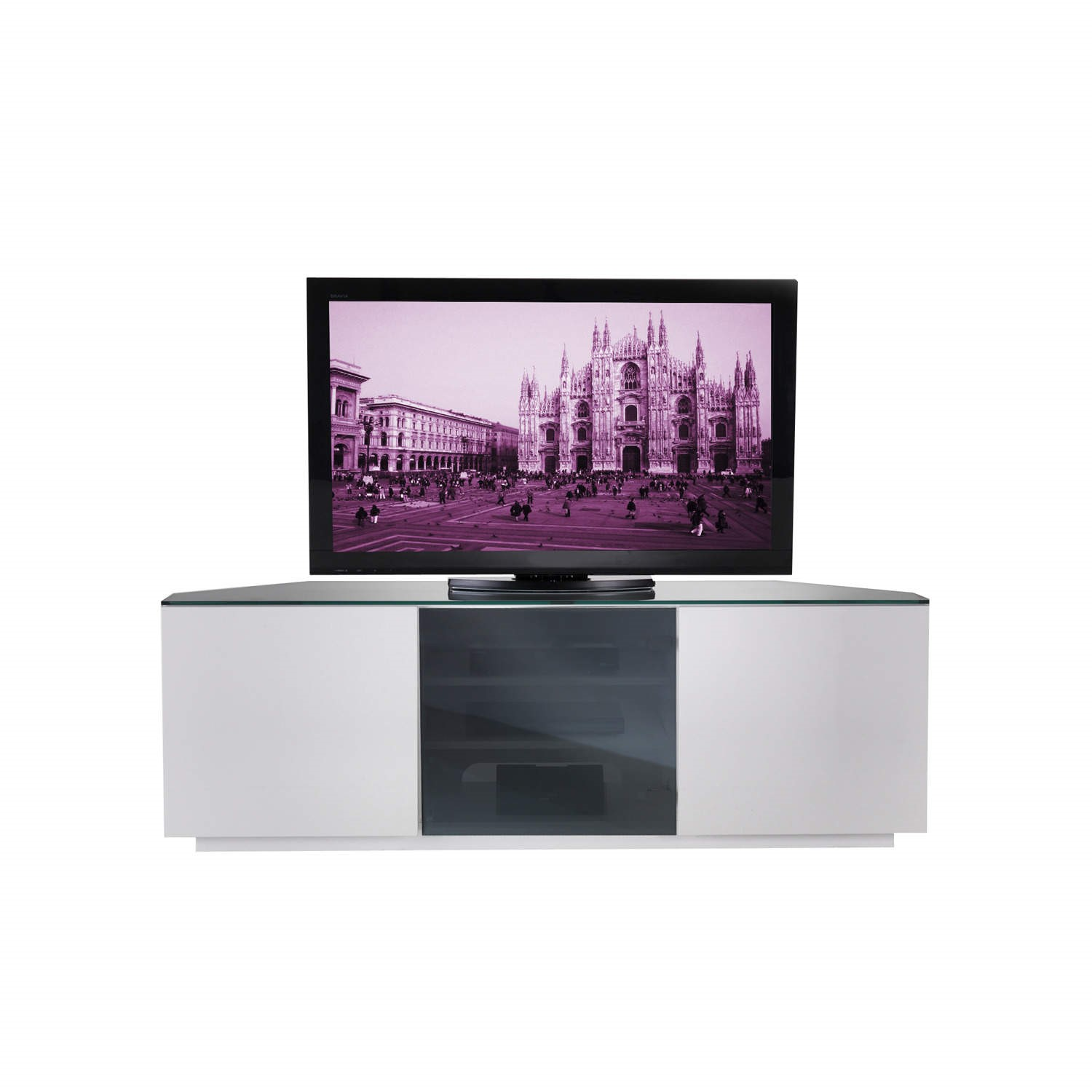 online store d3e08 1111d UKCF Milan Gloss White and Black Corner TV Cabinet - Up to 55 Inch