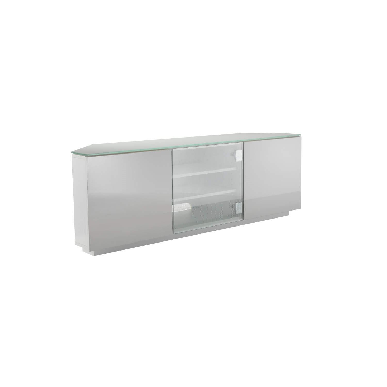 online retailer 1e3b8 463cf UKCF Milan Gloss White and White Corner TV Cabinet - Up to 55 Inch