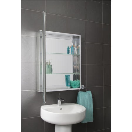 Croydex Haven Aluminium Single Door Mirror Cabinet