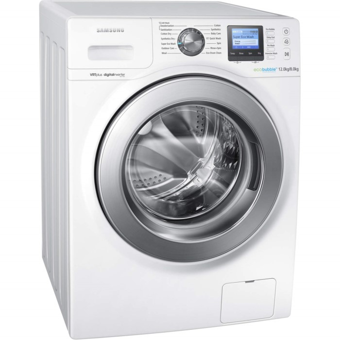 Samsung WD12F9C9U4W EcoBubble 12kg Wash 8kg Dry 1400rpm Freestanding Washer  Dryer-White 9c362aaafabe