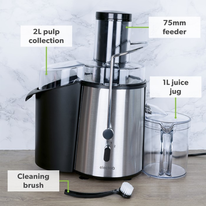 Electriq Slow Juicer Review : ElectrIQ WF1000 Whole Fruit Power Juicer Stainless Steel 990W Appliances Direct