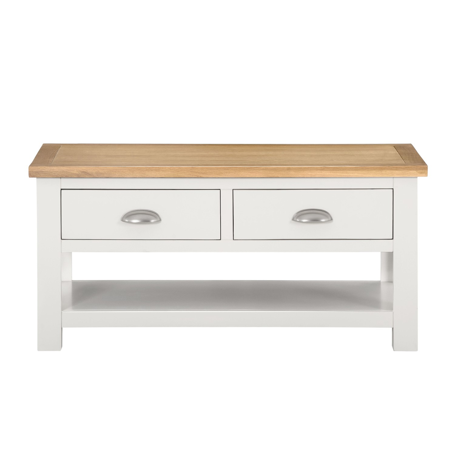 Willow Farmhouse Wood Coffee Table With Storage Drawers Cream
