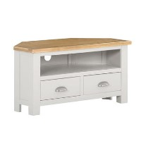 Willow Small Corner TV Unit in Cream & Oak Two Tone - TV's up to 35