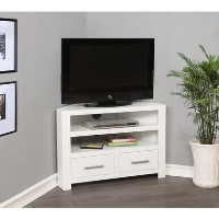 White Corner TV Unit in Solid Wood - TV up to 36