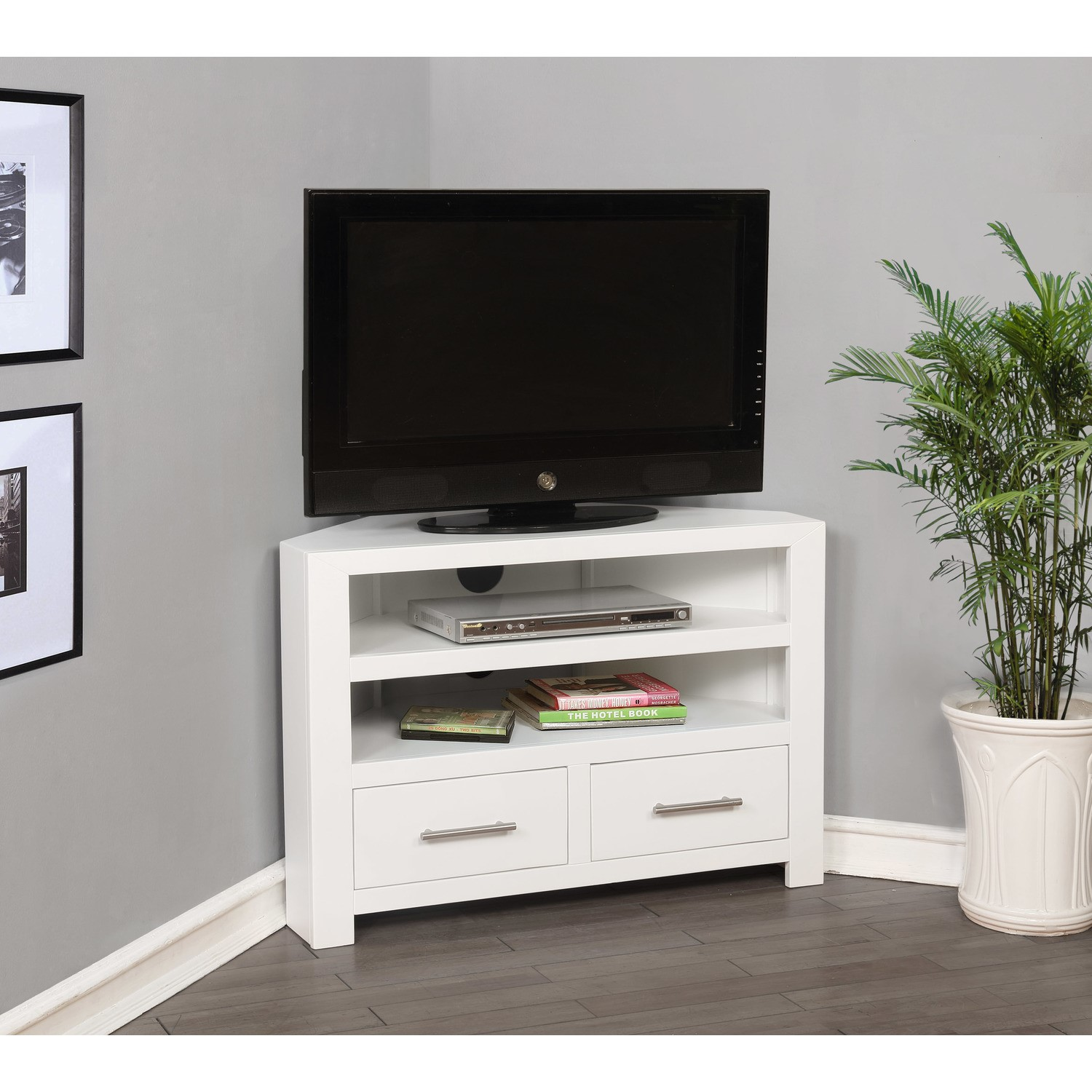 newest 97ed3 74091 Windsor White Corner TV Unit in Solid Wood - TV up to 36