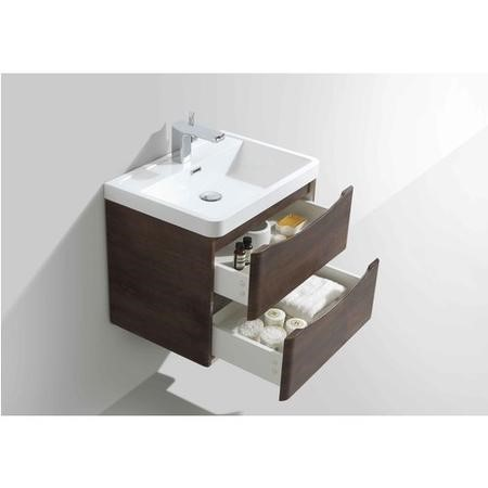 Walnut Wall Hung Bathroom Vanity Unit & Basin - 600mm Wide