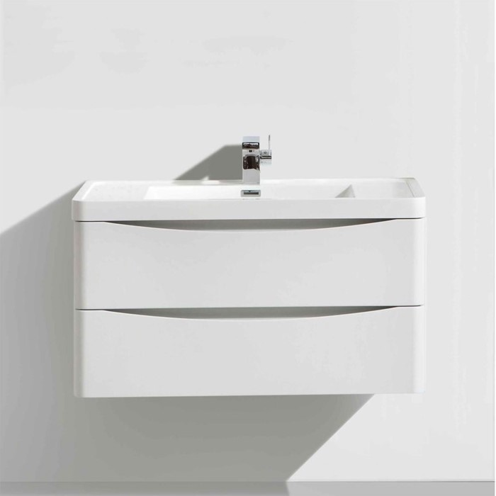 White Wall Hung Bathroom Vanity Unit Basin 600mm Wide Wmc594wa