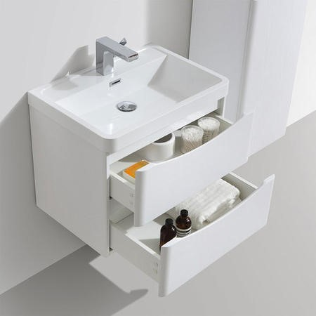 White Wall Hung Bathroom Vanity Unit & Basin - 600mm Wide