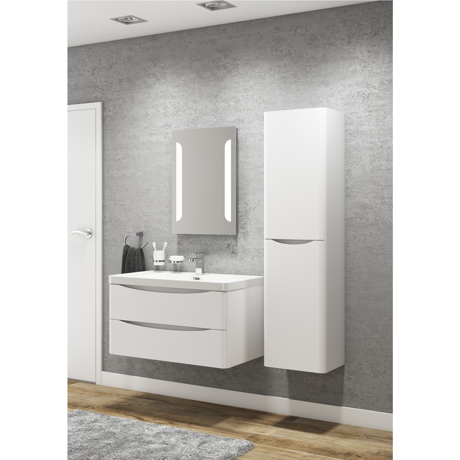 Surprising White Wall Hung Tall Bathroom Storage Cabinet 400Mm Wide Interior Design Ideas Skatsoteloinfo
