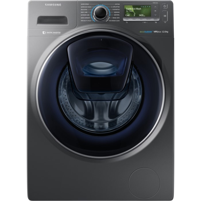 Samsung WW12K8412OX AddWash  EcoBubble 12kg 1400rpm Freestanding Washing  Machine-Graphite WW12K8412OX a226fbbb2b30