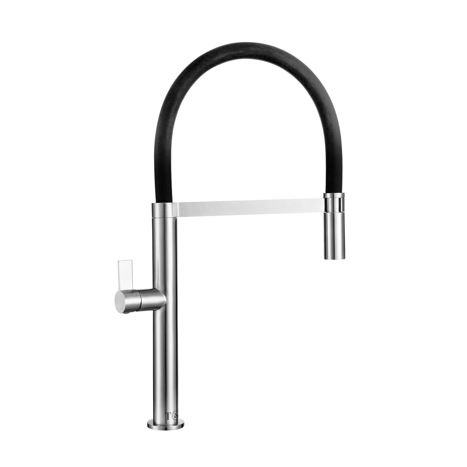 Single Lever Brushed Chrome Monobloc Kitchen Sink Faucet With Pull