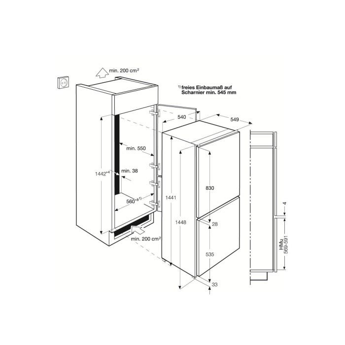 Zanussi Zbb24430sa 70 30 Integrated Fridge Freezer