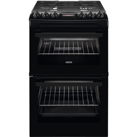 Zanussi ZCG43250BA 55cm Double Oven Gas Cooker With Minute Minder - Black