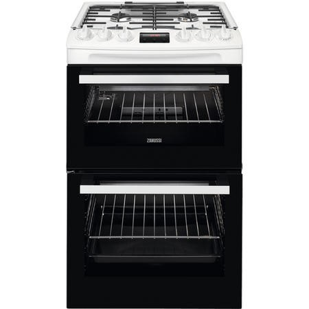 Zanussi ZCG43250WA 55cm Double Oven Gas Cooker With Minute Minder - White