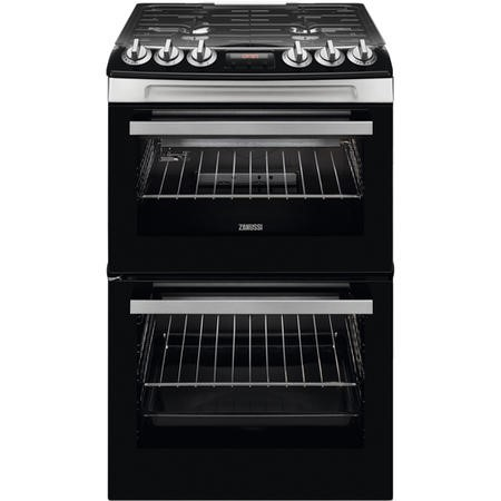Zanussi ZCG43250XA 55cm Double Oven Gas Cooker With Minute Minder - Stainless Steel