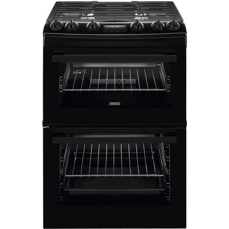 Zanussi ZCG63250BA 60cm Double Oven Gas Cooker With Minute Minder - Black